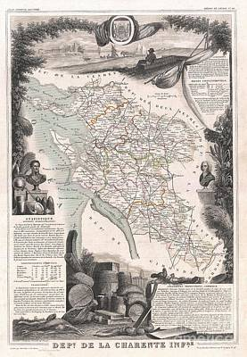 Wall Chart Photograph - 1852 Levasseur Map Of The Department De La Charente Maritime by Paul Fearn