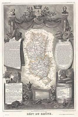 1852 Levasseur Map Of The Department Du Rhone France  Beaujolais Wine Region Print by Paul Fearn