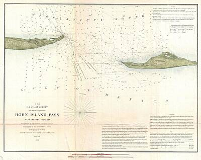 1852 Us Coast Survey Map Of Horn Island Pass Mississippi Sound  Print by Paul Fearn