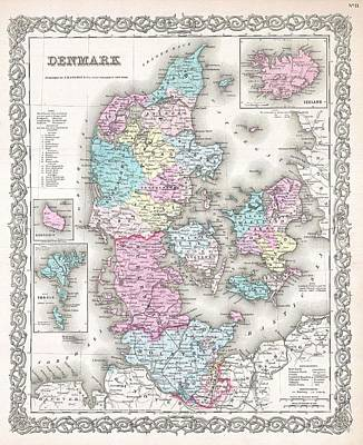Wall Chart Photograph - 1855 Colton Map Of Denmark by Paul Fearn