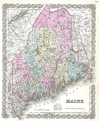 Wall Chart Photograph - 1855 Colton Map Of Maine by Paul Fearn