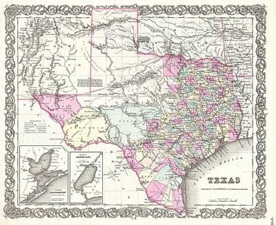 Wall Chart Photograph - 1855 Colton Map Of Texas by Paul Fearn