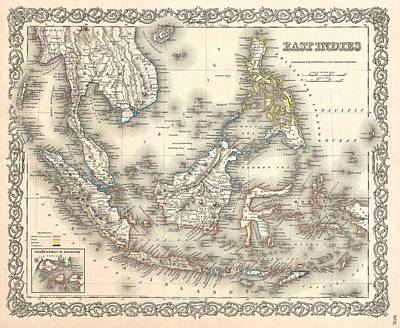 Wall Chart Photograph - 1855 Colton Map Of The East Indies Singapore Thailand Borneo Malaysia by Paul Fearn