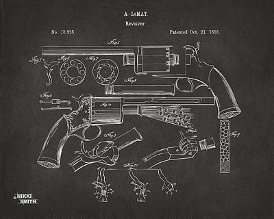 Hunters Drawing - 1856 Lemat Revolver Patent Artwork - Gray by Nikki Marie Smith