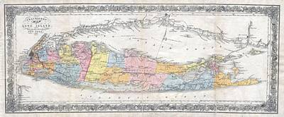 Wall Chart Photograph - 1857 Colton Travellers Map Of Long Island New York by Paul Fearn