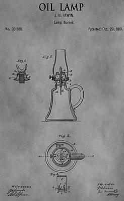 Oil Lamp Drawing - 1861 Oil Lamp Patent by Dan Sproul