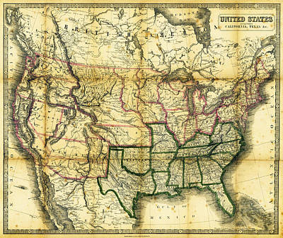 Old West Photograph - 1861 United States Map by Daniel Hagerman