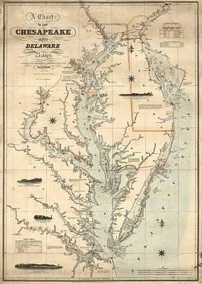 1862 Chesapeake Bay Map Print by Dan Sproul