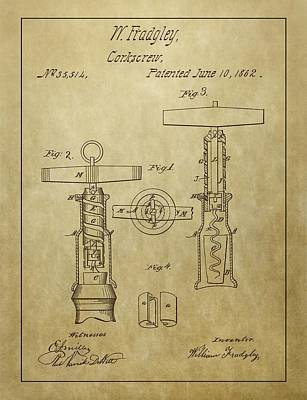 Wine Cellar Mixed Media - 1862 Corkscrew Patent by Dan Sproul