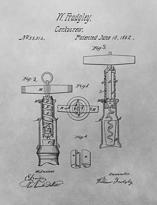 Red Wine Drawing - 1862 Corkscrew Patent Drawing by Dan Sproul
