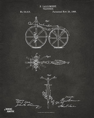 Drawing - 1866 Velocipede Bicycle Patent Artwork - Gray by Nikki Marie Smith