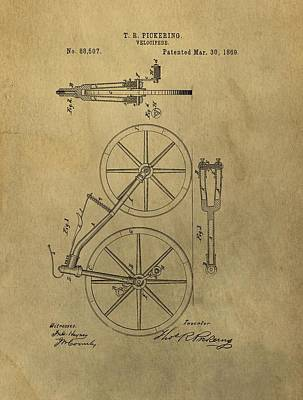 Bicycle Mixed Media - 1869 Bicycle Patent by Dan Sproul