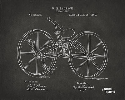 Drawing - 1869 Velocipede Bicycle Patent Artwork - Gray by Nikki Marie Smith
