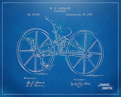 Drawing - 1869 Velocipede Bicycle Patent Blueprint by Nikki Marie Smith