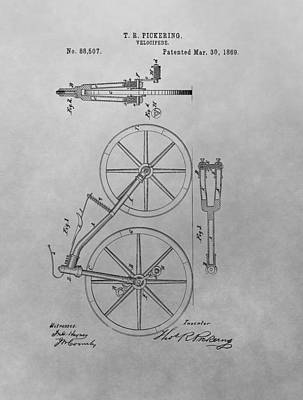 Bicycle Drawing - 1869 Velocipede Patent Drawing by Dan Sproul