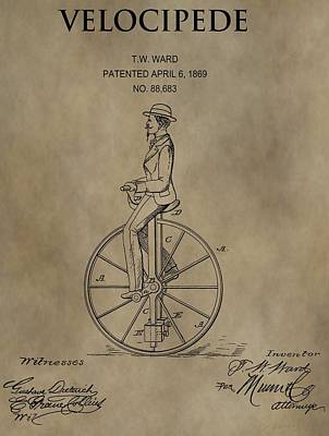 Store Digital Art - 1869 Velocipede Unicycle Patent by Dan Sproul