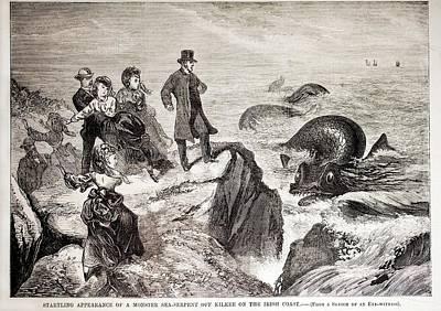 1871 Kilkee Irish Sea Monster Serpent Print by Paul D Stewart