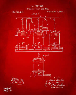 1873 Brewing Beer And Ale Patent Artwork - Red Print by Nikki Marie Smith