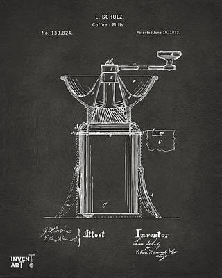 1873 Coffee Mills Patent Artwork Gray Print by Nikki Marie Smith