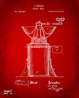 Drawing - 1873 Coffee Mills Patent Artwork Red by Nikki Marie Smith