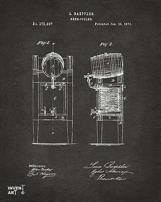 1876 Beer Keg Cooler Patent Artwork - Gray Print by Nikki Marie Smith