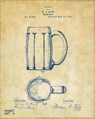 Liquor Digital Art - 1876 Beer Mug Patent Artwork - Vintage by Nikki Marie Smith