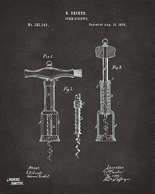 Drawing - 1876 Wine Corkscrews Patent Artwork - Gray by Nikki Marie Smith
