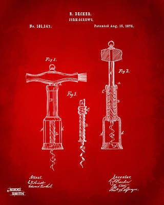 Drawing - 1876 Wine Corkscrews Patent Artwork - Red by Nikki Marie Smith