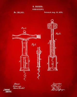 Wineries Digital Art - 1876 Wine Corkscrews Patent Artwork - Red by Nikki Marie Smith