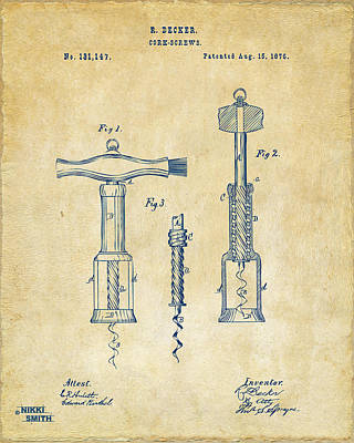 Wine Art Drawing - 1876 Wine Corkscrews Patent Artwork - Vintage by Nikki Marie Smith