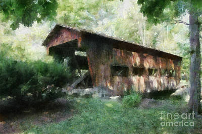 Covered Bridge Painting - 1877 Jasper Rd Covered Bridge Montgomery County Ohio by Scott B Bennett