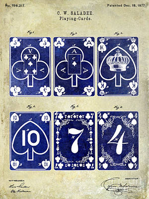 Playing Cards Photograph - 1877 Playing Cards Patent Drawing 2 Tone by Jon Neidert