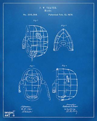 Baseball Art Digital Art - 1878 Baseball Catchers Mask Patent - Blueprint by Nikki Marie Smith