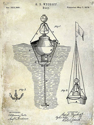Bell Drawing - 1878 Buoy Patent Drawing by Jon Neidert