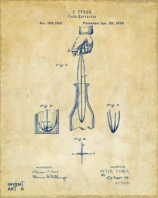 Liquor Digital Art - 1878 Cork Extractor Patent Artwork - Vintage by Nikki Marie Smith
