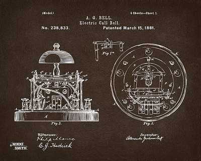 1881 Alexander Graham Bell Electric Call Bell Patent Espresso Print by Nikki Marie Smith