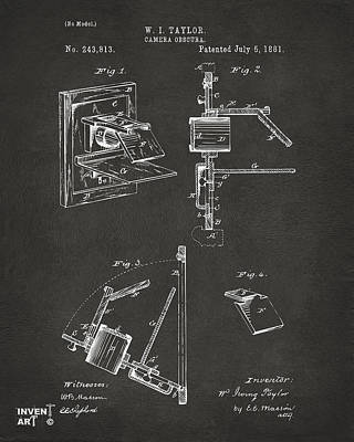 Optics Drawing - 1881 Taylor Camera Obscura Patent Gray by Nikki Marie Smith