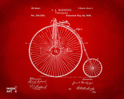 Drawing - 1881 Velocipede Bicycle Patent Artwork - Red by Nikki Marie Smith