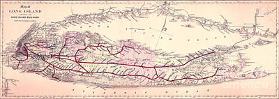 Long Island Drawing - 1882 Long Island Railroad Map by Jon Neidert