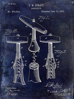 Sommelier Photograph - 1883 Corkscrew Patent Drawing by Jon Neidert