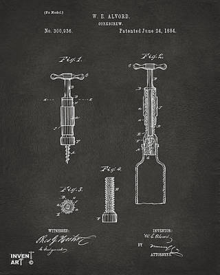 Drawing - 1884 Corkscrew Patent Artwork - Gray by Nikki Marie Smith