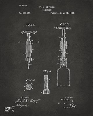 Liquor Digital Art - 1884 Corkscrew Patent Artwork - Gray by Nikki Marie Smith