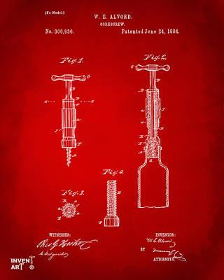 Liquor Digital Art - 1884 Corkscrew Patent Artwork - Red by Nikki Marie Smith