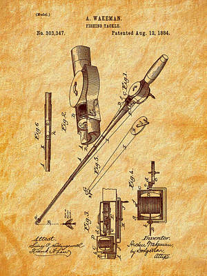 1884 Digital Art - 1884 Fishing Tackle Patent Art by Barry Jones