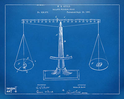 1885 Balance Weighing Scale Patent Artwork Blueprint Print by Nikki Marie Smith