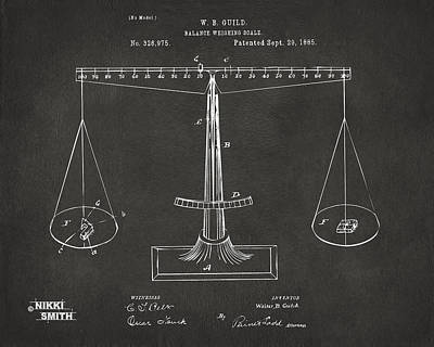 1885 Balance Weighing Scale Patent Artwork - Gray Print by Nikki Marie Smith