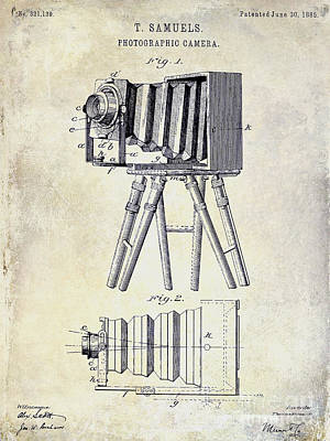Kodak Photograph - 1885 Camera Patent Drawing  by Jon Neidert