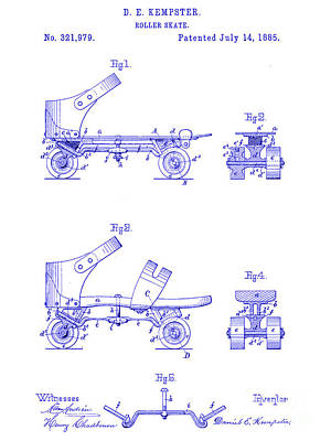 1885 Roller Skate Patent Blueprint Print by Jon Neidert