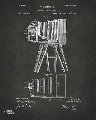 Cave Digital Art - 1885 Samuels Camera Patent Artwork - Gray by Nikki Marie Smith