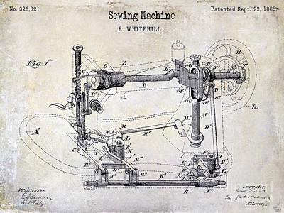 Singer Photograph - 1885 Sewing Machine Patent Drawing by Jon Neidert